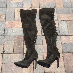 Thigh High Olive Green Heels